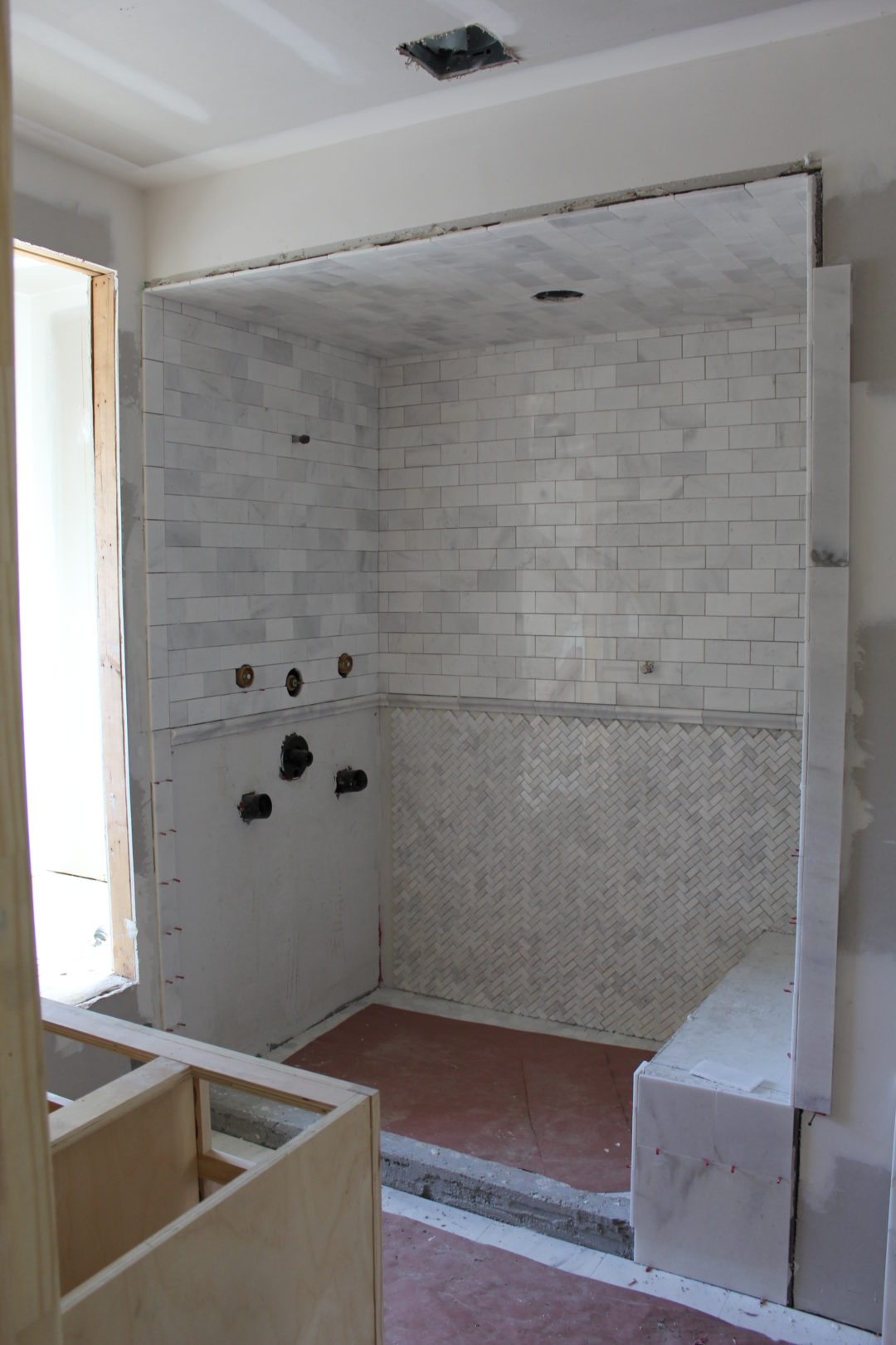 Tile tile and more tile laureen loves master shower we used snow white marble which is similar to carrara marble but it has a higher quartz content so it makes it more durable and the color is dailygadgetfo Image collections