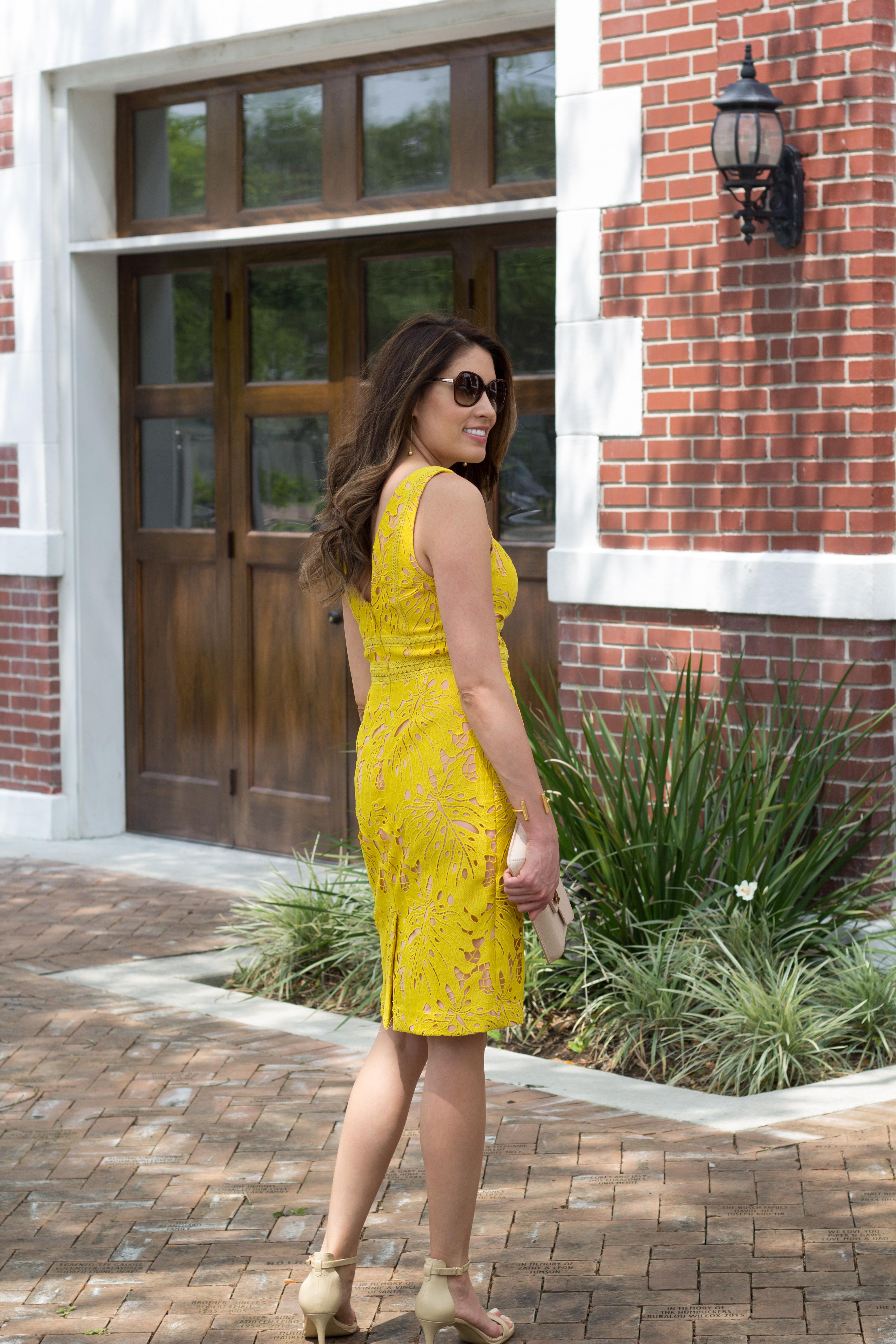 yellow dress, bridal baby shower, feminine