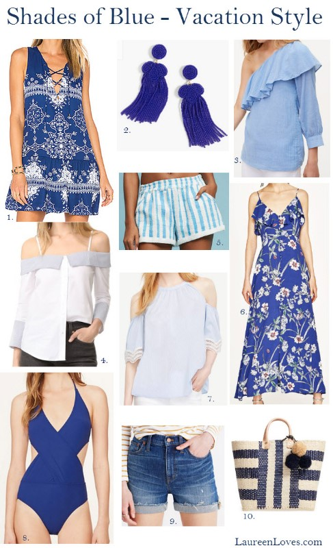 blue and white summer fashion, beach style