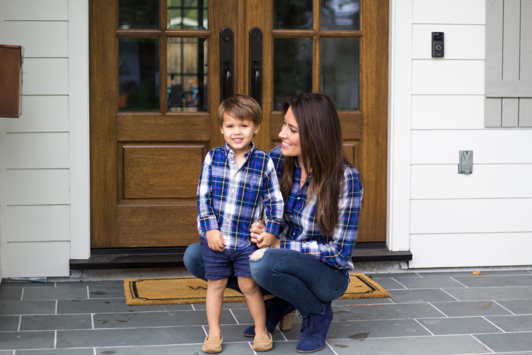 mom and mini matching, mommy and me, navy plaid button up jcrew,