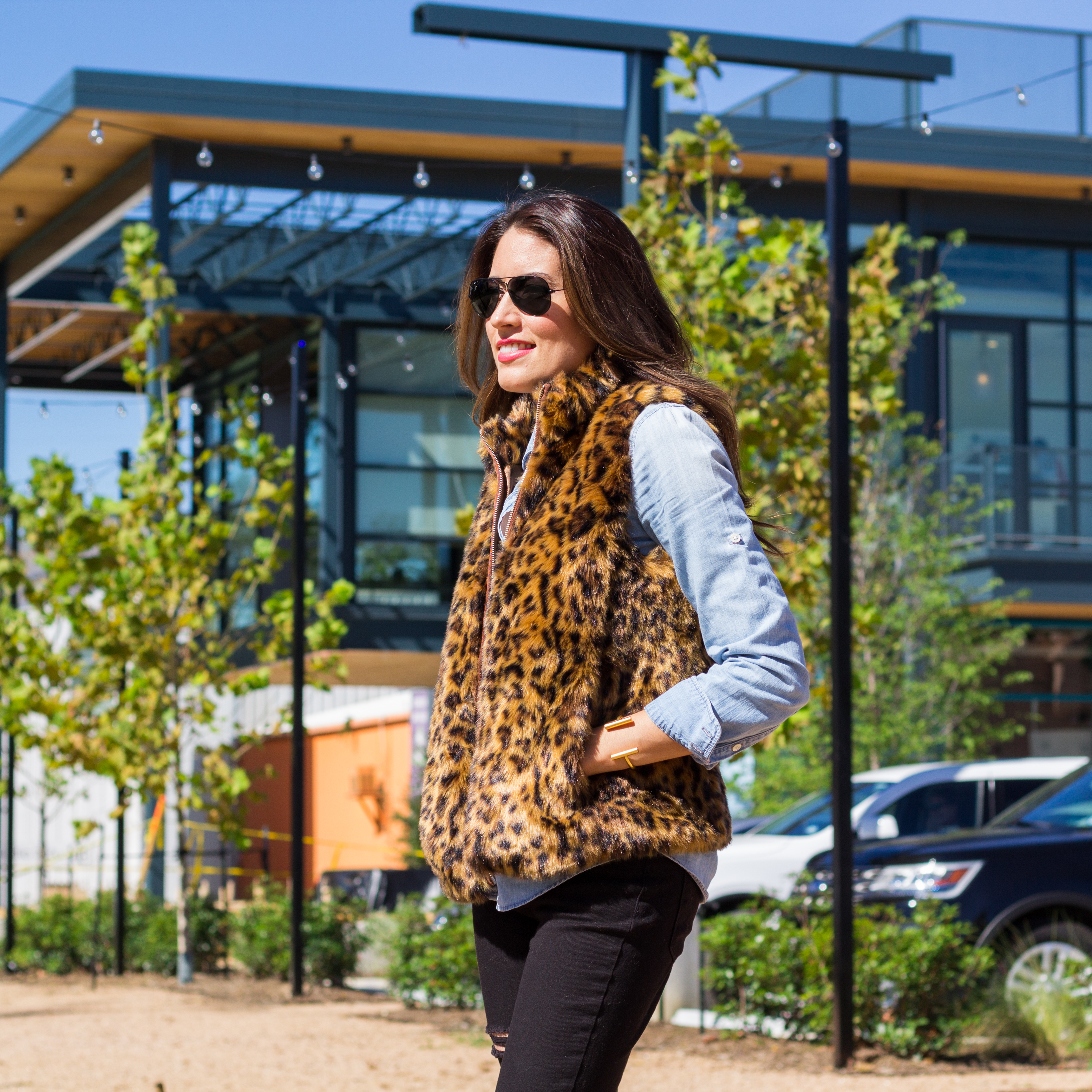 jcrew faux fur vest, leopard
