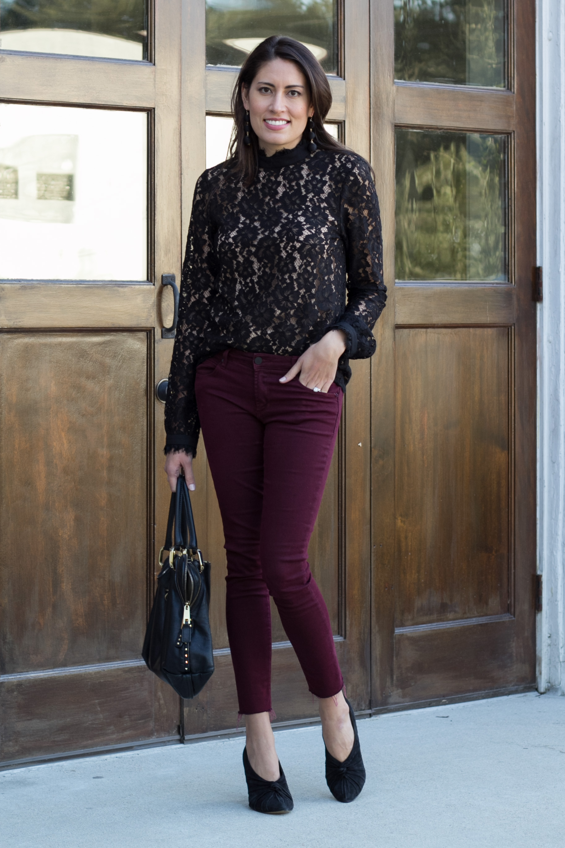 WAYF BLACK LACE TOP, burgundy denim, holiday casual outfit