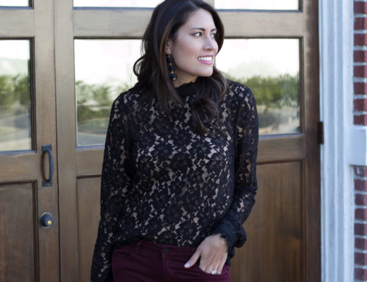black lace top, WAYF, casual holiday party look