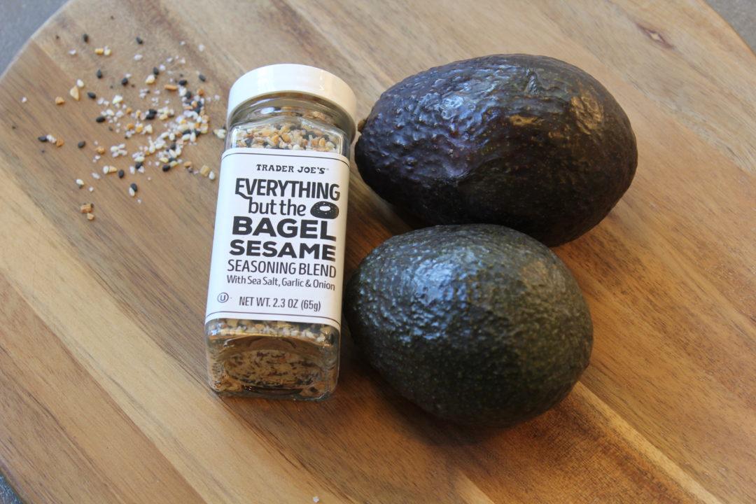 trader joe's staples, avocado toast, pantry staples, healthy eating for family, everything bagel seasoning