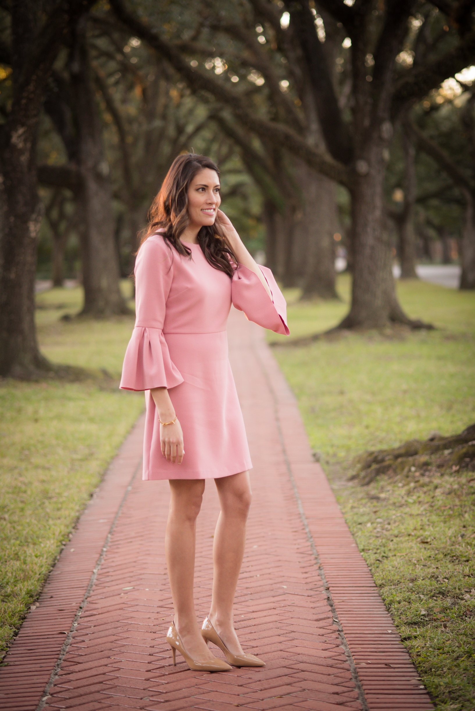 pink bell sleeve dress, spring dress, pink ann taylor dress